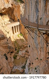 Dangerous suspended track of Caminito del Rey in Spain