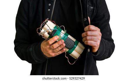 Dangerous terrorist in black jacket with dynamite bomb in hand isolated on white background