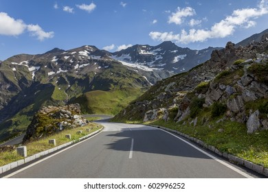 Dangerous and winding road in the high mountains