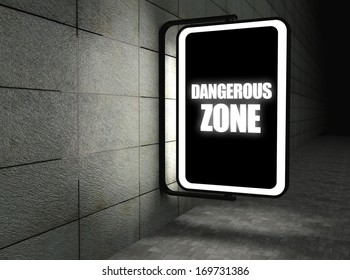 Dangerous zone warning sign at night on street