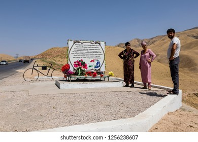 Danghara, Tajikistan August 25 2018: Baptismal site on the edge of the Pamir Highway for cyclists killed in a terrorist attack on 1 August 2018