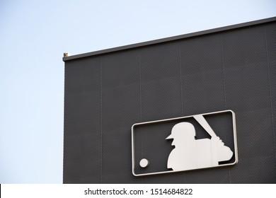 Dangjin City, Chungcheongnam-do, Korea - Sep 15, 2019 : MLB logo outside the MLB shop building