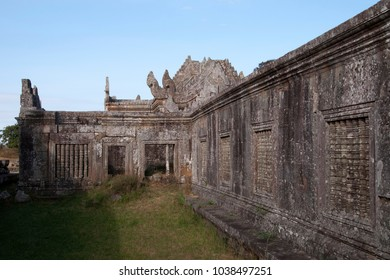 Dangrek Mountains Cambodia, view of Gopura IV courtyard with carved colonettes at the 11th century Preah Vihear Temple