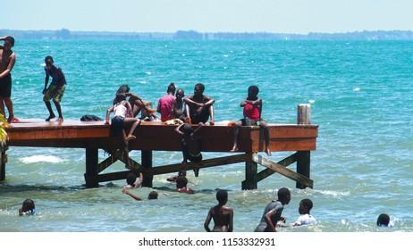 Dangriga, Stann Creek/Belize - 04 05 2015: beachday in Dangriga, Belize