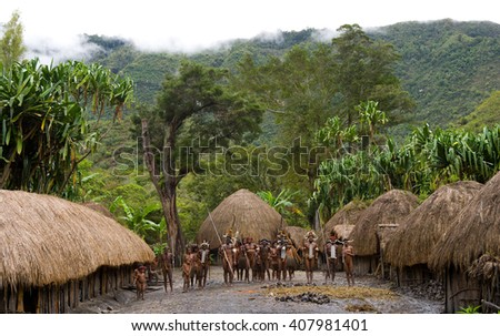 DANI VILLAGE, WAMENA, IRIAN JAYA, NEW GUINEA, INDONESIA â?? 25 JULY 2009: General view of the village of Dani tribe. July 2009, 2012 The Baliem Valley, Indonesian, New Guinea