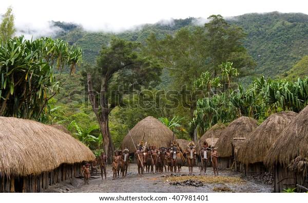 DANI VILLAGE, WAMENA, IRIAN JAYA, NEW GUINEA, INDONESIA â?? 25 JULY 2009: General view of the village of Dani tribe. July 2009, 2012 The Baliem Valley, Indonesian, New Guinea