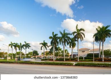 DANIA BEACH, FL, USA - APRIL 17, 2019: Stock photos of Dania Beach RK Shopping Plaza and Publix Supermarket anchor tenant shot