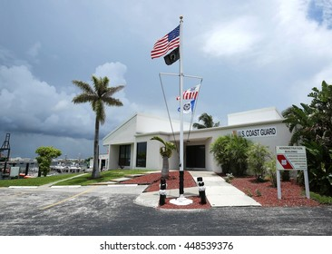 DANIA, FLORIDA, JULY 2, 2016:  US Coast Guard, Station Fort Lauderdale, the Headquarters building, adjacent to Port Everglades, in the Dr. Von D. Mizell and Eula Johnson State Park.