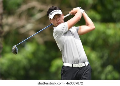 Daniel IM of USA plays a shot on the hole 9 during round one of the King's Cup at Phoenix Gold Golf and Country Club on July 28, 2016 in Pattaya, Thailand.