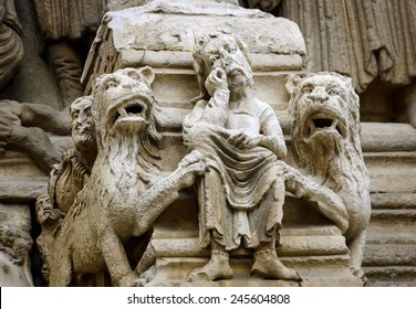 Daniel in the lions' den. Architectural detail. Facade of the church of St. Trophime in Arles. (Provence, France)