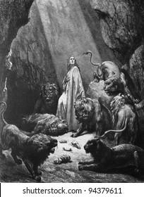 Daniel in the lions pit. 1) Le Sainte Bible: Traduction nouvelle selon la Vulgate par Mm. J.-J. Bourasse et P. Janvier. Tours: Alfred Mame et Fils. 2) 1866 3) France 4) Gustave Doré