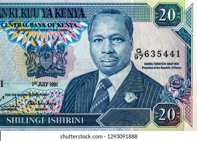 Daniel Toroitich arap Moi portrait from Kenyan 20 shillings  banknote, second President of Kenya. Close Up UNC Uncirculated - Collection