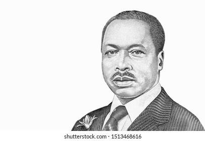 Daniel Toroitich Arap Moi. portrait from Kenya 20 Shillings1994 bank note. Kenya Banknotes. Kenyan money. Close Up Uncirculated - Collection.