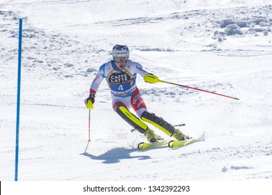 DANIEL YULE SUI  takes part in the RACE run for the men´s Slalom race of the FIS Alpine Ski World Cup Finals at Soldeu-El Tarter in Andorra, on March 17, 2019.