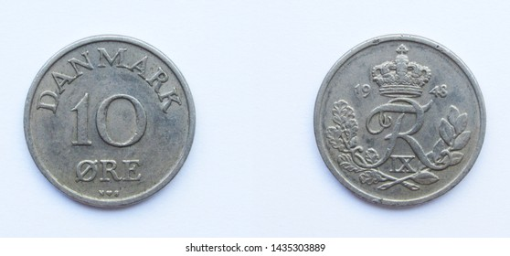 Danish 10 Ore 1948 year copper-nickel coin, Denmark. Coin shows a monogram of Danish King Frederick IX of Denmark.