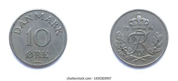 Danish 10 Ore 1951 year copper-nickel coin, Denmark. Coin shows a monogram of Danish King Frederick IX of Denmark.