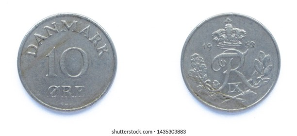 Danish 10 Ore 1952 year copper-nickel coin, Denmark. Coin shows a monogram of Danish King Frederick IX of Denmark.