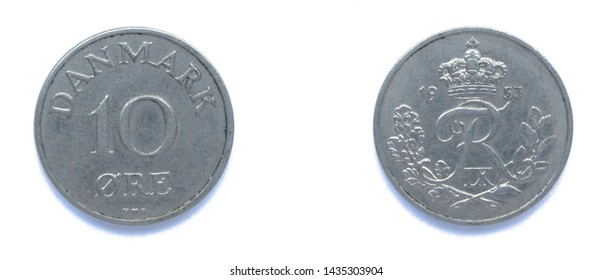 Danish 10 Ore 1953 year copper-nickel coin, Denmark. Coin shows a monogram of Danish King Frederick IX of Denmark.