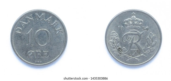 Danish 10 Ore 1954 year copper-nickel coin, Denmark. Coin shows a monogram of Danish King Frederick IX of Denmark.