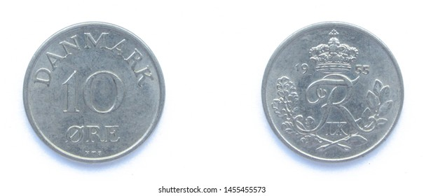Danish 10 Ore 1955 year copper-nickel coin, Denmark. Coin shows a monogram of Danish King Frederick IX of Denmark.