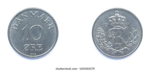 Danish 10 Ore 1958 year copper-nickel coin, Denmark. Coin shows a monogram of Danish King Frederick IX of Denmark.