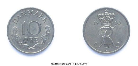 Danish 10 Ore 1960 year copper-nickel coin, Denmark. Coin shows a monogram of Danish King Frederick IX of Denmark.
