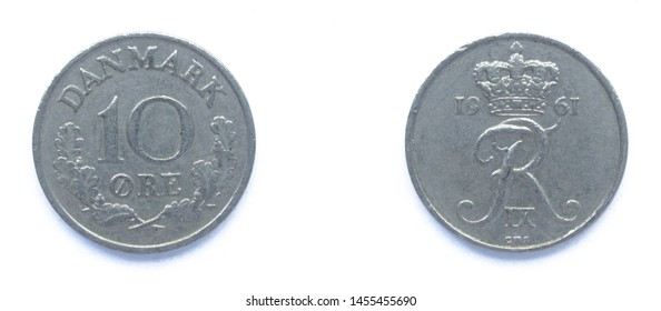 Danish 10 Ore 1961 year copper-nickel coin, Denmark. Coin shows a monogram of Danish King Frederick IX of Denmark.