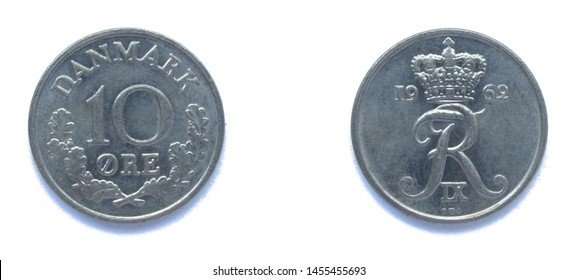 Danish 10 Ore 1962 year copper-nickel coin, Denmark. Coin shows a monogram of Danish King Frederick IX of Denmark.