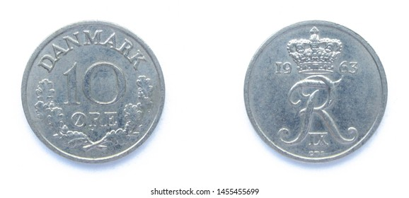 Danish 10 Ore 1963 year copper-nickel coin, Denmark. Coin shows a monogram of Danish King Frederick IX of Denmark.