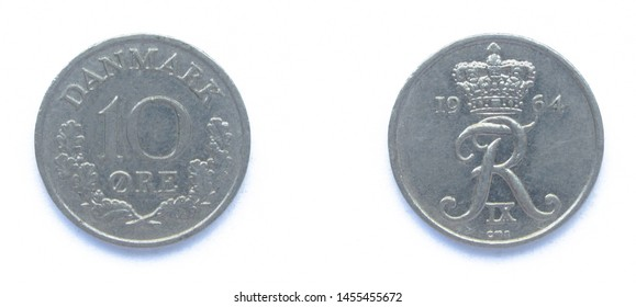 Danish 10 Ore 1964 year copper-nickel coin, Denmark. Coin shows a monogram of Danish King Frederick IX of Denmark.