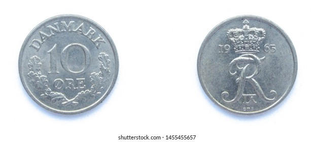 Danish 10 Ore 1965 year copper-nickel coin, Denmark. Coin shows a monogram of Danish King Frederick IX of Denmark.