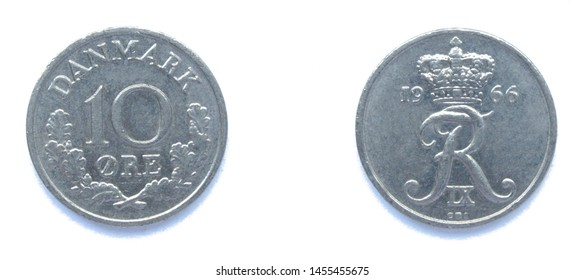 Danish 10 Ore 1966 year copper-nickel coin, Denmark. Coin shows a monogram of Danish King Frederick IX of Denmark.