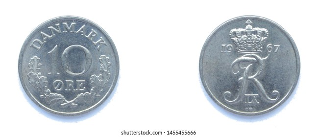 Danish 10 Ore 1967 year copper-nickel coin, Denmark. Coin shows a monogram of Danish King Frederick IX of Denmark.