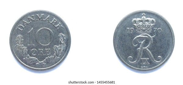 Danish 10 Ore 1970 year copper-nickel coin, Denmark. Coin shows a monogram of Danish King Frederick IX of Denmark.