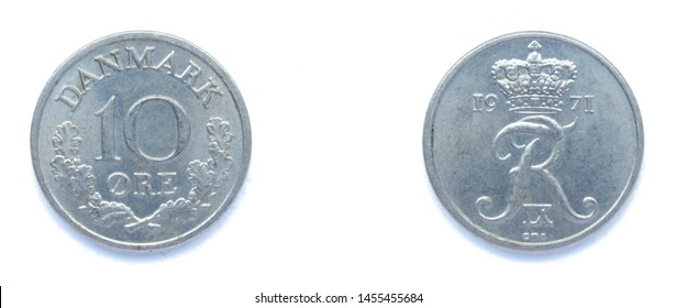 Danish 10 Ore 1971 year copper-nickel coin, Denmark. Coin shows a monogram of Danish King Frederick IX of Denmark.