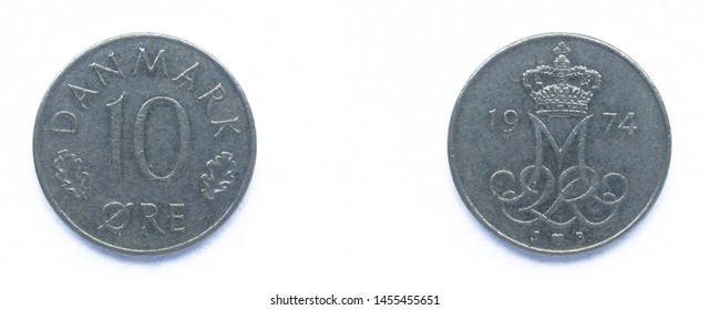 Danish 10 Ore 1974 year copper-nickel coin, Denmark. Coin shows a monogram of Danish Queen Margrethe II of Denmark.