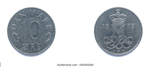 Danish 10 Ore 1975 year copper-nickel coin, Denmark. Coin shows a monogram of Danish Queen Margrethe II of Denmark.