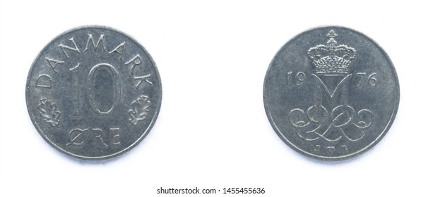 Danish 10 Ore 1976 year copper-nickel coin, Denmark. Coin shows a monogram of Danish Queen Margrethe II of Denmark.