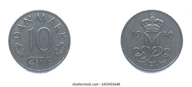 Danish 10 Ore 1980 year copper-nickel coin, Denmark. Coin shows a monogram of Danish Queen Margrethe II of Denmark.