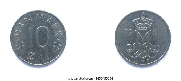 Danish 10 Ore 1981 year copper-nickel coin, Denmark. Coin shows a monogram of Danish Queen Margrethe II of Denmark.