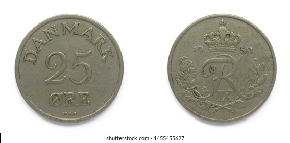 Danish 25 Ore 1950 year copper-nickel coin, Denmark. Coin shows a monogram of Danish King Frederick IX of Denmark.