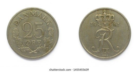 Danish 25 Ore 1961 year copper-nickel coin, Denmark. Coin shows a monogram of Danish King Frederick IX of Denmark.