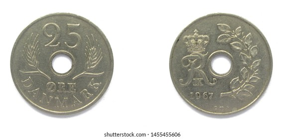 Danish 25 Ore 1967 year copper-nickel coin, Denmark. Coin shows a monogram of Danish King Frederick IX of Denmark.