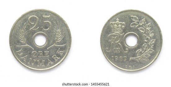 Danish 25 Ore 1969 year copper-nickel coin, Denmark. Coin shows a monogram of Danish King Frederick IX of Denmark.