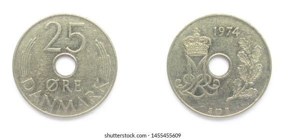 Danish 25 Ore 1974 year copper-nickel coin, Denmark. Coin shows a monogram of Danish Queen Margrethe II of Denmark.