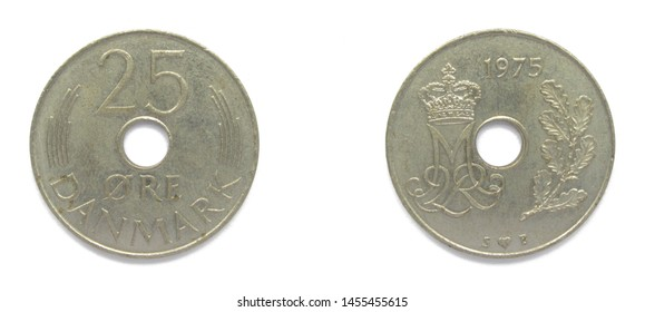 Danish 25 Ore 1975 year copper-nickel coin, Denmark. Coin shows a monogram of Danish Queen Margrethe II of Denmark.