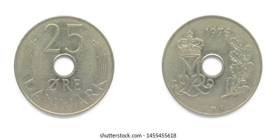 Danish 25 Ore 1976 year copper-nickel coin, Denmark. Coin shows a monogram of Danish Queen Margrethe II of Denmark.