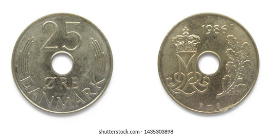 Danish 25 Ore 1986 year copper-nickel coin with hole, orifice, Denmark. Coin shows a monogram of Danish Queen Margrethe II of Denmark.