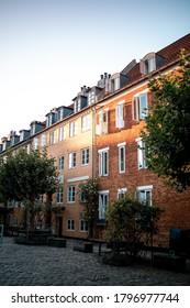 Danish architecture during sunset in Copenhagen, Denmark