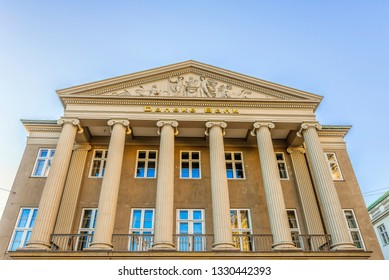 Danish Bank Money laundering. The facade of  the headquarter-building with ionic columns and a sclprured pediment, Copenhagen, February 16, 2019